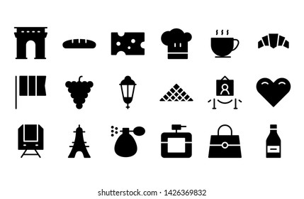 France glyph icon symbol set
