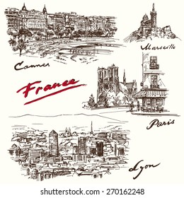France - hand drawn collection