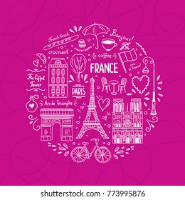 France hand drawn icons round concept. Cute doodles about Paris and France. Visit France travel graphic elements