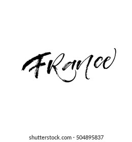 France hand drawn lettering. European country. Ink illustration. Modern brush calligraphy. Isolated on white background.