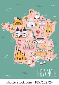France hand drawn vector map with famous symbols, landmarks of the country. Design, banner for travel guides, prints, souvenirs