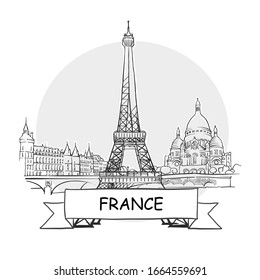 France Hand-Drawn Urban Vector Sign. Black Line Art Illustration with Ribbon and Title.