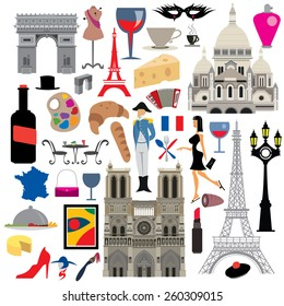 France Icon Collection, French Culture and Landmarks (vector Art)