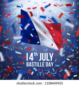 France Independence Greeting. 14 July Happy Bastille day greeting card with colorful flying confetti and national flag of of France. Red, white, blue design with blurred rays.