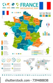 France infographic map and flag - vector illustration