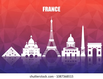 France Landmark Global Travel And Journey paper background. Vector Design Template.used for your advertisement, book, banner, template, travel business or presentation.