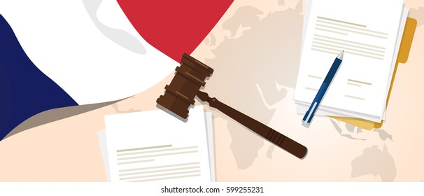 France law constitution legal judgment justice legislation trial concept using flag gavel paper and pen vector