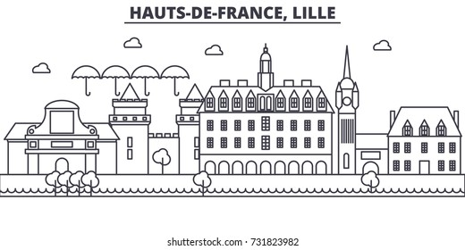 France, Lille architecture line skyline illustration. Linear vector cityscape with famous landmarks, city sights, design icons. Landscape wtih editable strokes