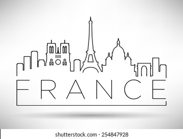 France Line Silhouette Typographic Design