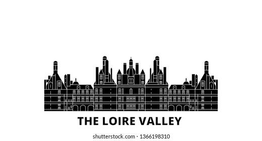 France, The Loire Valley  flat travel skyline set. France, The Loire Valley  black city vector illustration, symbol, travel sights, landmarks.