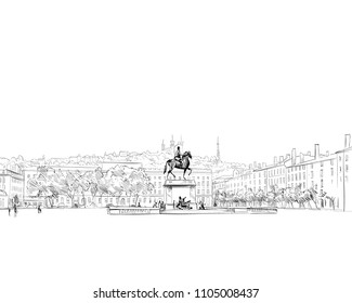 France. Lyon. Place Bellecour. Hand drawn sketch. Vector illustration.