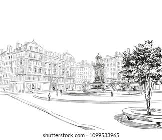 France. Lyon. Place des Jacobins. Hand drawn sketch. Vector illustration.