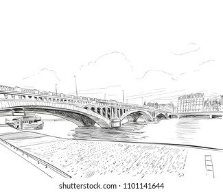 France. Lyon. Pont Wilson. Hand drawn sketch. Vector illustration.