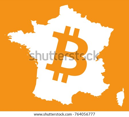 France Map Bitcoin Crypto Currency Symbol Stock Vector Royalty Free
