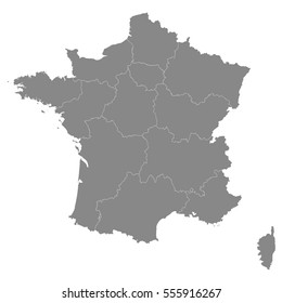 France map with borders of the regions. Detailed vector illustration of French Republic . Gray outlines isolated on white background. Image for political articles and official documents.