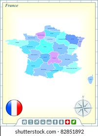 France Map with Flag Buttons and Assistance & Activates Icons Original Illustration