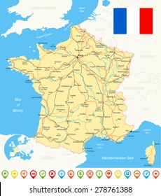 Road Map Of France.French Road Map Images Stock Photos Vectors Shutterstock
