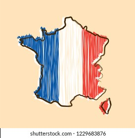 France map and flag in sketch hand drawn style. Vector cartoon illustration icon design. France map outline concept
