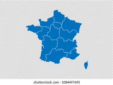 france map - High detailed blue map with counties/regions/states of france. france map isolated on transparent background.
