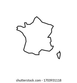 France map icon isolated on white background. France outline map. Simple line icon. Vector illustration