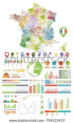 Infographic travel and landmark france map shape template design.