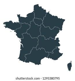 France map on White background vector, France Map Outline Shape Gray on White Vector Illustration, High detailed Gray illustration map France.