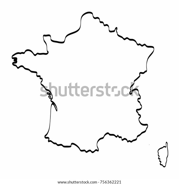 Map Of France Drawing.France Map Outline Graphic Freehand Drawing Stock Vector Royalty