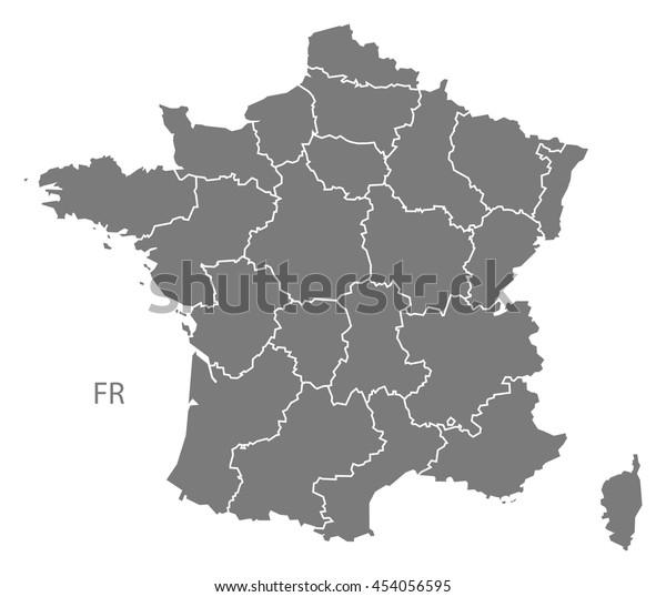Frankrig Kort Med Regioner Gra Lagervektor Royaltyfri 454056595