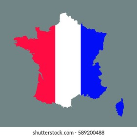 France map vector with the french flag on grey background