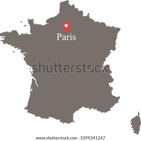 Map Of France Paris.France Map Vector Outline Capital Location Stock Vector Royalty