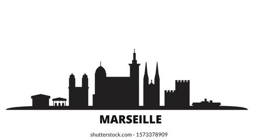 France, Marseille city skyline isolated vector illustration. France, Marseille travel black cityscape