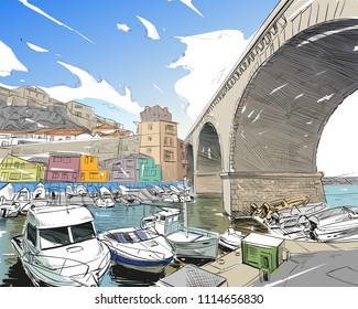 France. Marseille. East Port Valon Des. Hand drawn sketch. Vector illustration.
