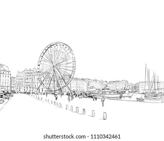 France. Marseille. Old port. Ferris wheel. Hand drawn sketch. Vector illustration.