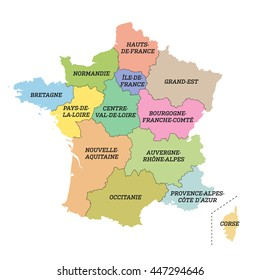 France metropolitan map with new regions