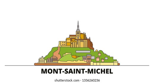 France, Mont Saint Michel And Its Bay flat landmarks vector illustration. France, Mont Saint Michel And Its Bay line city with famous travel sights, skyline, design.