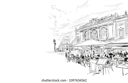 France. Montpellier. Place de la Comedie. Hand drawn sketch. Vector illustration.