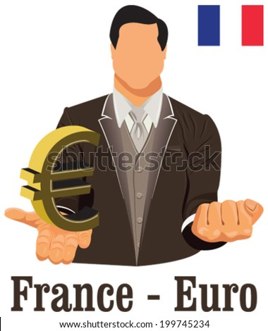 France National Currency Euro Symbol Representing Stock Vector
