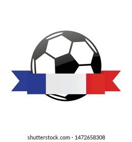 France  national flag football icon . France  football championship banner. Simple vector France flag