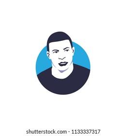 France national football player, Kylian Mbappé vector illustration, isolated style