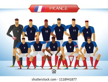 France National Football Team for International Tournament. Vector illustration.