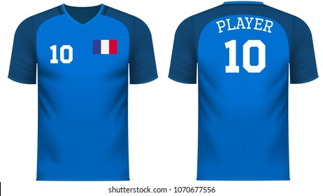France national soccer team shirt in generic country colors for fan apparel.