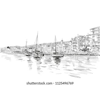France. Nice. Azure cost. Hand drawn sketch. Vector illustration.