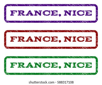 France, Nice watermark stamp. Text tag inside rounded rectangle frame with grunge design style. Vector variants are indigo blue, red, green ink colors. Rubber seal stamp with unclean texture.