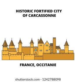 France, Occitanie - Historic Fortified City Of Carcassonne line travel landmark, skyline, vector design. France, Occitanie - Historic Fortified City Of Carcassonne linear illustration.