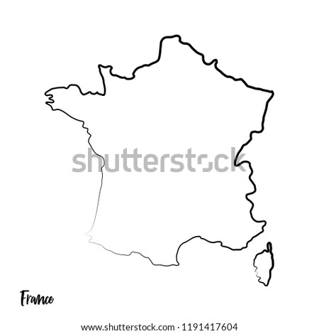 France Outline Contour Black Map Stock Vector Royalty Free
