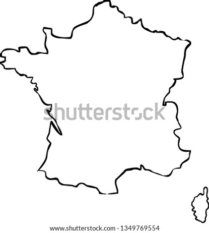 Outline Of Map Of France.France Outline Map Stock Vector Royalty Free 1349769554 Shutterstock