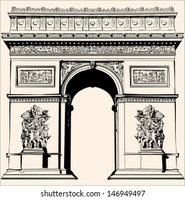 France - Paris - Arc de triomphe - Very detailed vector representation of an Hand drawing