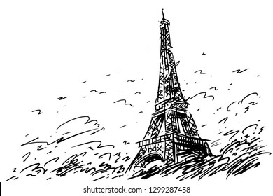 France. Paris city symbol. Eiffel Tower hand drawn sketch. Vector illustration. Travel poster with famous landmarks