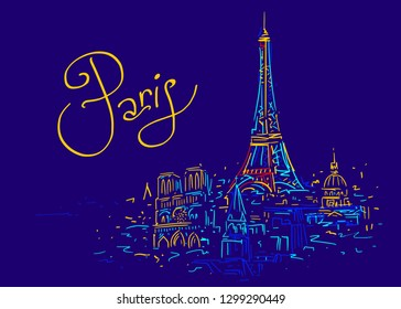 France. Paris city symbol. Eiffel Tower hand drawn sketch. Color vector illustration in abstract style. Travel poster with famous landmarks