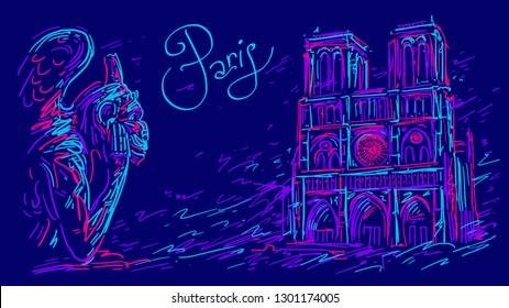France. Paris city symbols Notre Dame de Paris and gargoyle. Hand drawn sketch. Color vector illustration in abstract style. Travel poster with famous landmarks